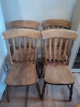 Lovely old set of 4 farmhouse chairs