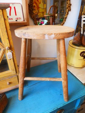 Old Wooden Farmhouse Stool